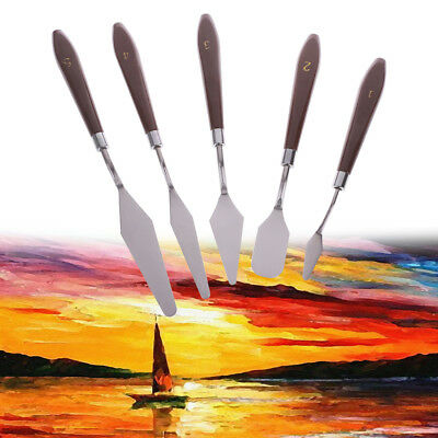 5pcs Set Professional Steel Spatula Artist Oil Painting Palette Knife Paint Art