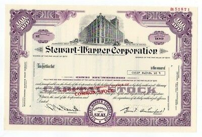 SPECIMEN - Stewart-Warner Corporation Stock