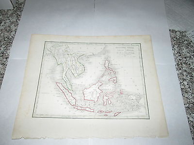 """1835 BRADFORD MAP """"FARTHER INDIA or CHIN INDIA N W OCEANICA"""" INTERESTING OLD MAP"""
