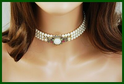 intage Art Deco Revival Pearl Wrap Choker Necklace & Clip Earrings 1928 Jewelry