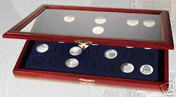 #5869 - Wood Coin Display Case w/ Glass Top & Wall Hang
