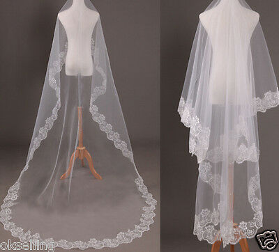 1 layer Ivory white Cathedral Length Lace Edge Wedding Bridal Veil 3m mantilla