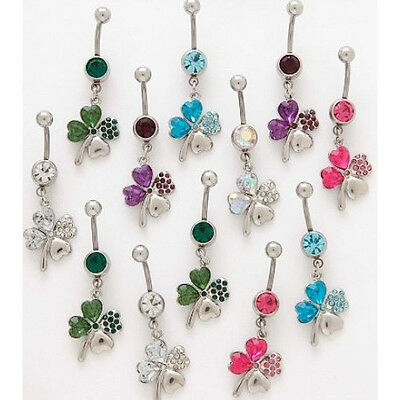 10pc Shamrock Lucky 4-Leaf Clover Mix Dangle Navel Rings Naval Wholesale (B294)