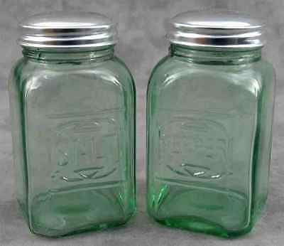 Light Green Glass Embossed Salt & Pepper Shaker Set ~ Range Size ~