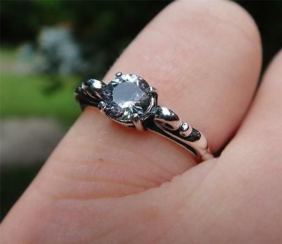 Antique Style Sterling Silver Ring with a .5 Ct Genuine Herkimer Diamond from NY