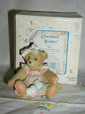"Cherished Teddies Amy ""hearts Quilted With Love"" Figurine"