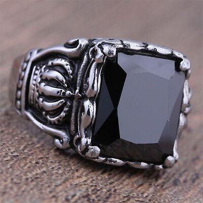 Wholesale Lots 4 Pcs Fashion Stainless Steel Mens Black CZ Crown Rings Jewelry