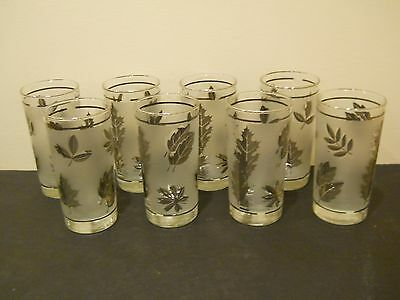 Vtg Hostess Set Glassware By Libbey Box Set Of 8 Tumblers Frosted Silver Foliage