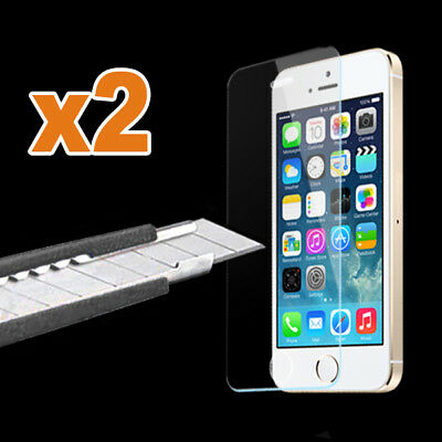 2x Scratch Resist Tempered Glass Screen Protector Film for iPhone 5 5S 5C SE