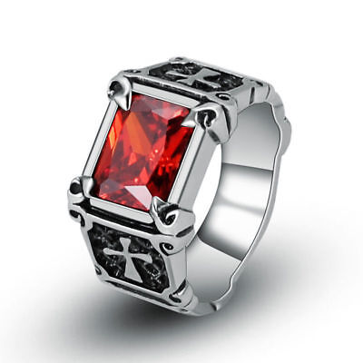 Wholesale Lot 5Pcs Mens Stainless Steel Double Cross Red CZ Zircon Ring Jewelry