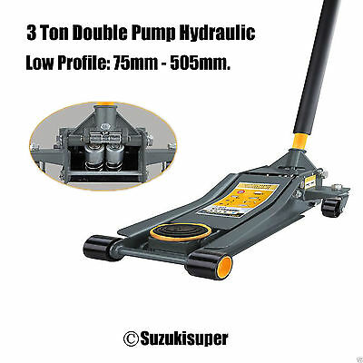 3 Ton Low Profile 75mm-505mm Quick Lift Trolley Jack Double Pump Hydraulic