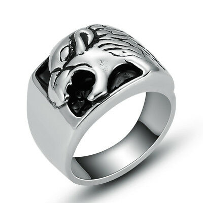 Wholesale Lot 5 Pcs Stainless Steel Fashion Silver Mens Wolf Biker Rings Jewelry