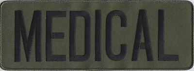 "MEDICAL Black on OD Green Back Panel Patch 11"" X 4"" (police/swat/SRT/tactical)"