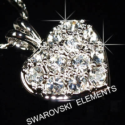SALE Prom White Gold Plated Pendant Necklace made with Swarovski Crystal  p710