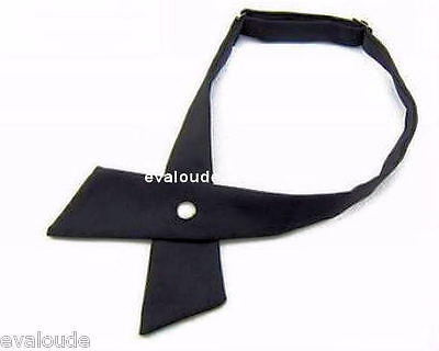 New High Quality Plain Black Crossover Bow Tie With Pearl Stud Fastener - Unisex