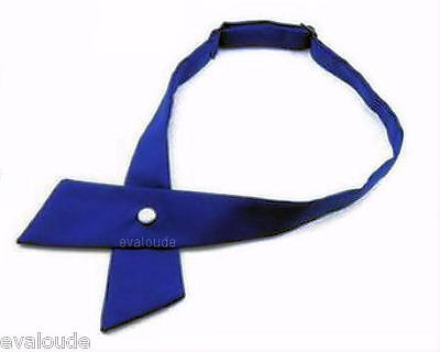 High Quality Plain Royal Blue Crossover Bow Tie - Pearl Stud Fastener - Unisex