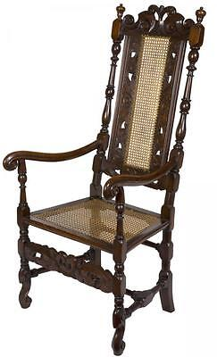 SWC-Early Carved Beech William & Mary Caned Armchair, Flemish or English