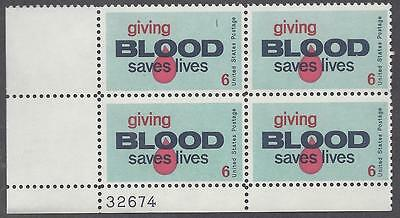 1425 Plate block 6cent Giving blood saves lives donor donations serum plasma