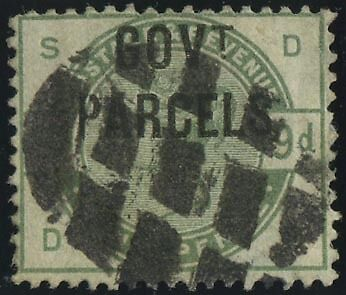 """SG O63 """"Govt Parcels"""" 9d dull green (D-S), fine used example neat Grid Cancel"""