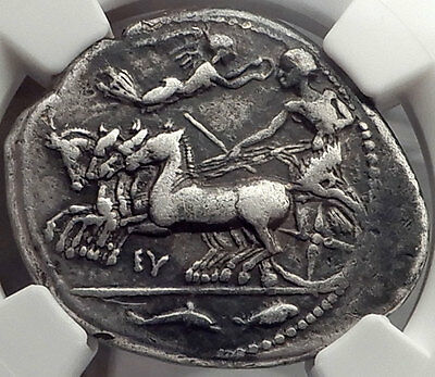 Syracuse in Sicily 415BC Eumenes Signed Silver Tetradrachm Greek Coin NGC VF
