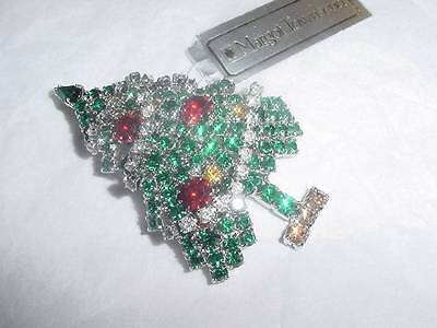 1990'S VINTAGE CHRISTMAS rhodium plated RHINESTONE TREE PIN MARGOT TOWNSEND