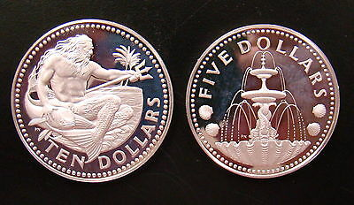 1973 $10 & $5 Proof Barbados Silver Dollars Neptune God of the Sea 925 & 800