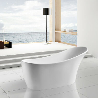 "63"" Modern Bathroom Acrylic White Free standing Bath tub w/ Chrome Faucet"