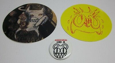 Radiohead official promo button & sticker set * Kid A Amnesiac I Might Be Wrong