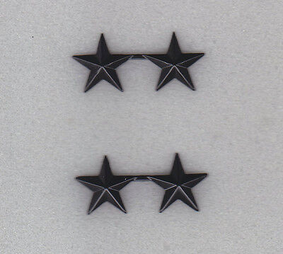 "Police Chief/Deputy 2 stars 5/8""  SUBDUED BLACK Pair Collar Pins Rank Insignia"