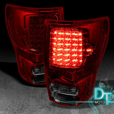 07-13 TUNDRA RED SMOKED LED TAIL BRAKE LIGHTS LAMPS LEFT+RIGHT AFTERMARKET TRUCK