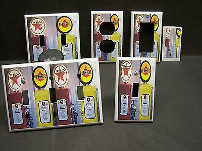 Vintage Gas Pumps Red And Yellow  Image 1 Light Switch Cover Plate