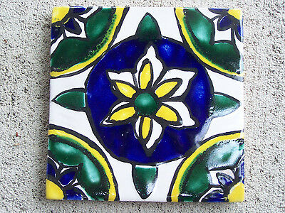Larger Handpainted Talavera Tile - Blue and Yellow Flower - Mexico
