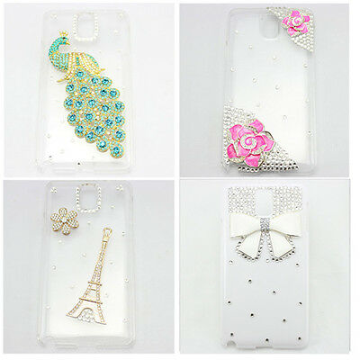 1x HOT bling clear diamond peacock bow case cover for Samsung Galaxy note 1 2 3