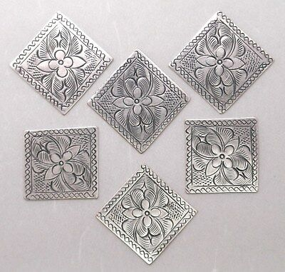 #3224 ANTIQUED SS/P SQUARE THAI HILL TRIBE FINDING - 6 Pc Lot