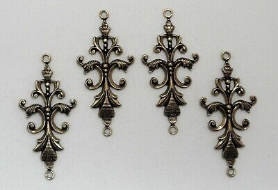 #1771 ANTIQUED GOLD FILIGREE 2 RING CONNECTOR - 4 Pc Lot