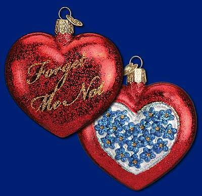 Forget Me Not Old World Christmas Glass Valentine Flower Heart Ornament 30030