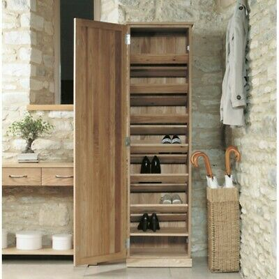 Fusion Solid Oak Wooden Hallway Furniture Tall Shoe Rack Cupboard Shelving Unit