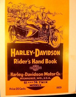 1929  Harley-Davidson Rider's Hand Book For 61 & 74 Twin Models -Illustrated FSH