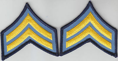 """1 pair Police CPL Corporal Chevrons Medium Gold on Light Blue 3"""" wide by 3"""" high"""