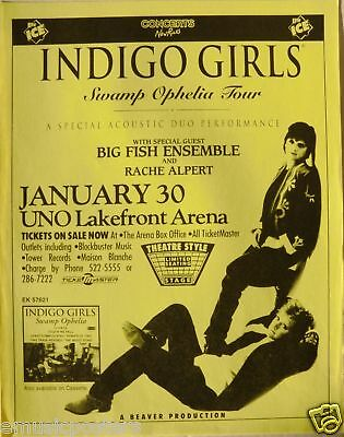 "Indigo Girls 1994 ""swamp Ophelia Tour"" New Orleans Concert Poster"