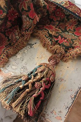 Antique French valance w/ tassel 19th century bedding textile w/ trim