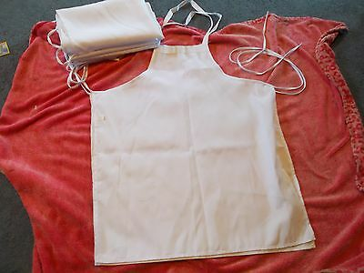 Lot 5 New White Fabric Full Aprons 28 X 33 Over The Head W/ties On Sides