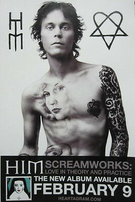 HIM 2010 Screamworks Promotional Poster Bam Margera New Old Stock Flawless
