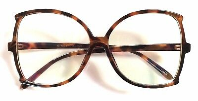 Retro Vintage Butterfly Square Oversize Large Plastic Frame ClearLenses Glasses
