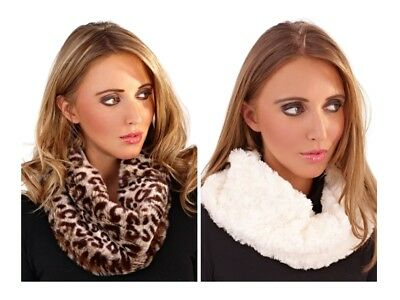 Womens Faux Fur Snood Scarf Cowl Muffler Collar Stole Winter Xmas Girls Ladies