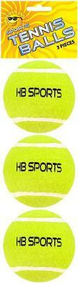 Pack of 3 x Tennis Balls HB Sport Outdoor Games Doggie Dogs Toys Fetch Yellow