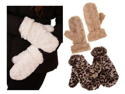 Luxury Womens Faux Fur Lined Mittens Gloves Winter Warm Xmas Gift Ladies Girls
