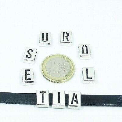28 Hebillas Para Cordón 12x8mm  T436B  Tibetan Leather Perline Charms Cuoio Cuir