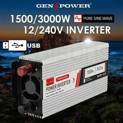 Pure Sine Wave Power Inverter 1500W/3000W Max 12V 240V Camping Boat Sinewave