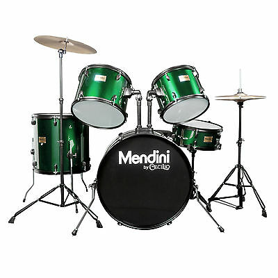 Mendini Green 5-Piece Complete Adult Drum Set +Cymbal+Throne ~MDS80-GN